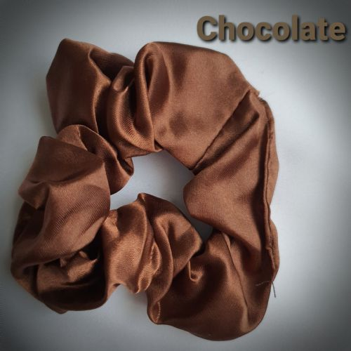 Chocolate Satin Scrunchie